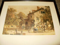 """English Color Mezzotint Engraving by Eugene Tily """"Home from Market"""""""