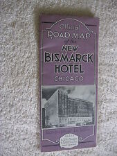 Early 1930's New Bismarck Hotel Chicago Illinois, Map Brochure