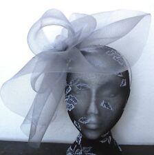 grey feather fascinator millinery burlesque headband wedding hat hair piece
