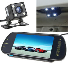"7"" MP5 Bluetooth Car Rearview Mirror Monitor+ 4 LEDs Night Vision Backup Camera"