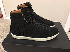 $695 MRSP Saint Laurent Sl/18h Fringed Black Suede Court Sneakers Sz 41 YSL