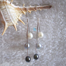 7.5*8.5mm White Gray Peacock Freshwater Pearl Dangle Earrings DaS