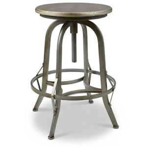 NEW! RUSTIC RETRO CHESTER BARSTOOL - STEEL ROTATING PEWTER BAR STOOL-SET OF 2