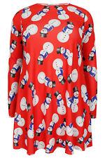 Kleid Schneemann Gr.50 X-Mas Weihnachten Stretchkleid rot Winterkleid Damen Neu