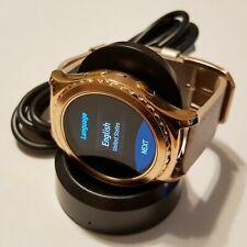 Samsung Gear S2 SM-R732 Acier Inoxydable Étui Smartwatch or avec Cuir Blanc