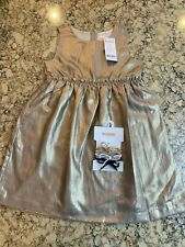 Gymboree Girl's Holiday Dress, Fully Lined, Gold Crinkle Tone, Size 8, NWT