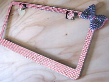 6Row Pink Bling Glass Rhinestone License Plate Frame with Orchid Bow on & 2 Caps