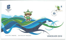 CANADA FIRST DAY COVER VANCOUVER PARA OLYMPIC GAMES 2010 STAMP SUMI MASCOT