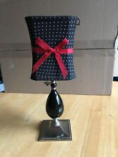 Partylite Audrey Tealight Candle Lamp 3-Pieces Black w/White Polka Dots Red Bow