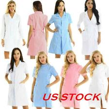 Us Adult Women Scrub Lab Dress Medical Nurse Doctor Uniform Hospital Jacket Coat
