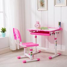 Pink Adjustable Children's Desk and Chair Set Child Kids Study Table Set
