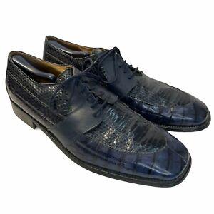 Stacy Adams Snakeskin Shoes Leather Tie Dress Oxfords Blue Size 13M Men's