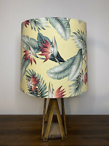 Tropical Yellow & Pink Palm Tree Leaves Handmade Lampshade