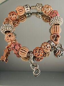 Genuine Pandora Silver Charm Bracelet -18 cm Charms & Clip #W/2
