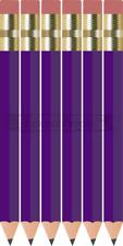 48 Violet purple Mini short Half golf Hexagon #2 pencils Eraser ExpressPencilsTM