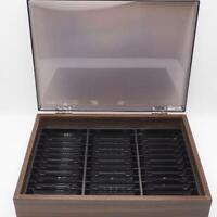 Kenmark 36 Cassette Tape Capacity Cabinet Drawer Faux Wood EUC Vintage dq