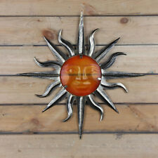 Metal Sun With Glass Wall Art Crafts Home Ornaments Outdoor Garden Decoration