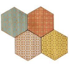 Hive Hexagon Wooden Drink Table Coasters Set of 4 - Printed Wood, Rubber Feet