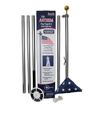 Annin Flagmakers In-Ground Aluminum Flagpole with Nylon Us Flag and Solar Light