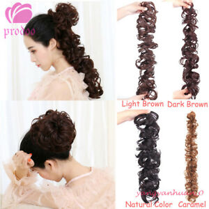 Loose Coil Strand Wrap Bun Long Wavy Wrap Hairpieces Curly Human Hair Piece Tail
