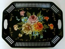 ANTIQUE LARGE HAND PAINTED TOLE LARGE BLACK METAL TRAY WITH HANDLES