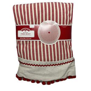 "Classic Stripe Christmas Tree Skirt Red Pom Pom Trim 48"" Medium Large Trees NEW"