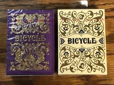 2 DECKS Bicycle Purple Majesty & Golden Jubilee playing cards set