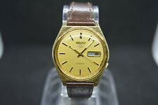 Beautiful Vintage Seiko 7009 3140 Automatic Leather Watch Day Date March 1989