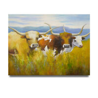 NY Art - Cattle Ranching Texas Longhorns 36x48 Oil Painting on Canvas - Sale