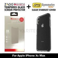 ZAGG Glass Screen Protector + Otterbox Clear Stardust Case Cover - IPhone Xs Max