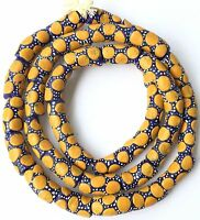 Ghana African Matched Yellow polka dot Recycled glass trade beads-Ghana