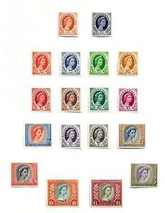 RHODESIA & NYASALAND  (A6-4) 1954 SG1-15 QE11 FULL SET OF 18 INC COILS MM / MH