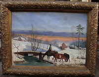 F. Granelli, Winterlandschaft mit Viehtränke am Eisloch, um 1900