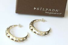 "Silpada NEW Sterling Silver Cut Out Hoop Earrings ""PARAGON"" P3129 $74"