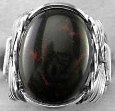 Bloodstone Gemstone Ring Sterling Silver Mens or Ladies Wide Band