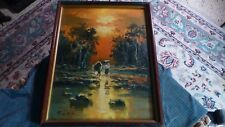 "Vintage ASIAN MCM OIL PAINTING Signed: KIM Y.H. Original Art 22"" x 17"" VG !"