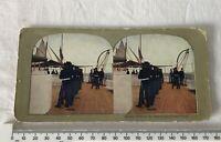 Marine Drill Battleship Connecticut Antique Edwardian NAVAL Stereoview Print