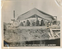 WWII 1945 US Army Okinawa Photo locals working in GI laundry