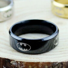 Men Black Titanium Batman Symbol 316L Stainless Steel Polished Ring Jewelry New