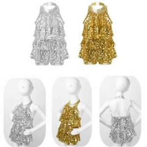 Kids Girls Ballet Modern Jazz Latin Dance Dress Halter Shiny Sequins Dancewear