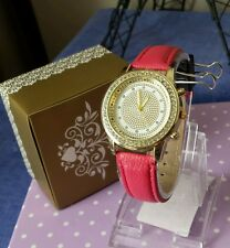 Ladies Watch Gold w Hot Pink band encrusted w crystals NEW 🎁 Gift Box rrp $32