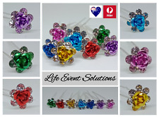 Hair Pins Rose Flower Crystal 10 piece Bridal Pin Accessories Wedding Prom Party