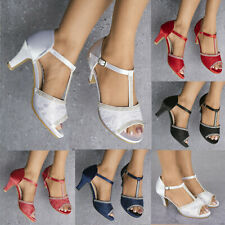 7f9a5405685 LADIES LACE DIAMANTE DETAIL T-BAR STRAPPY MID HEEL PEEP TOE SANDALS SHOES 3-