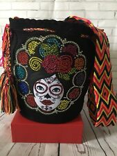 Authentic Wayuu Mochila Colombian Bag Large Beautiful Luxury Edition Sugar Skull