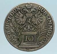 1763 AUSTRIA w Queen Maria Theresa Genuine Antique Kreuzer Austrian Coin i83400