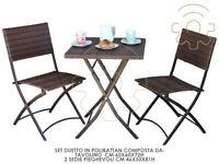 Salotto salottino da giardino in polirattan Duetto con tavolino 2 sedie pieghevo