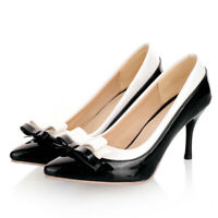 Women Classic Pumps Bowtie Patent Leather Closed Pointed Toe High Heel Shoes