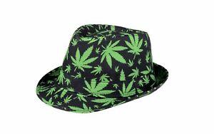 Trilby Hut mit Cannabis Druck Schwarz/Grün Hanf Gras Marihuana Mary Jane Fedora