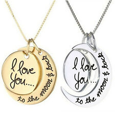 Women Necklace I Love You To The Moon And Back Pendants Necklace Jewelry JP