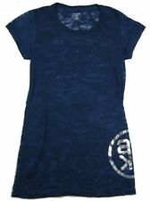 Alicia Keys AK Logo Girls Juniors Burn Out Long Blue Shirt XL New Official